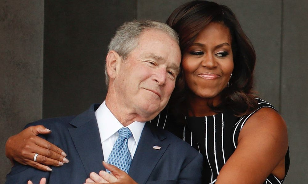 Funny  funny news Photos show Michelle Obama and George W. Bush's enduring friendship, built on wisecracks and cough drops